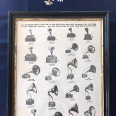 Fonógrafos y grabadoras de válvulas: MARCO CON LÁMINA ( MODELOS DE FONÓGRAFO EDISON ). Lote 154493168