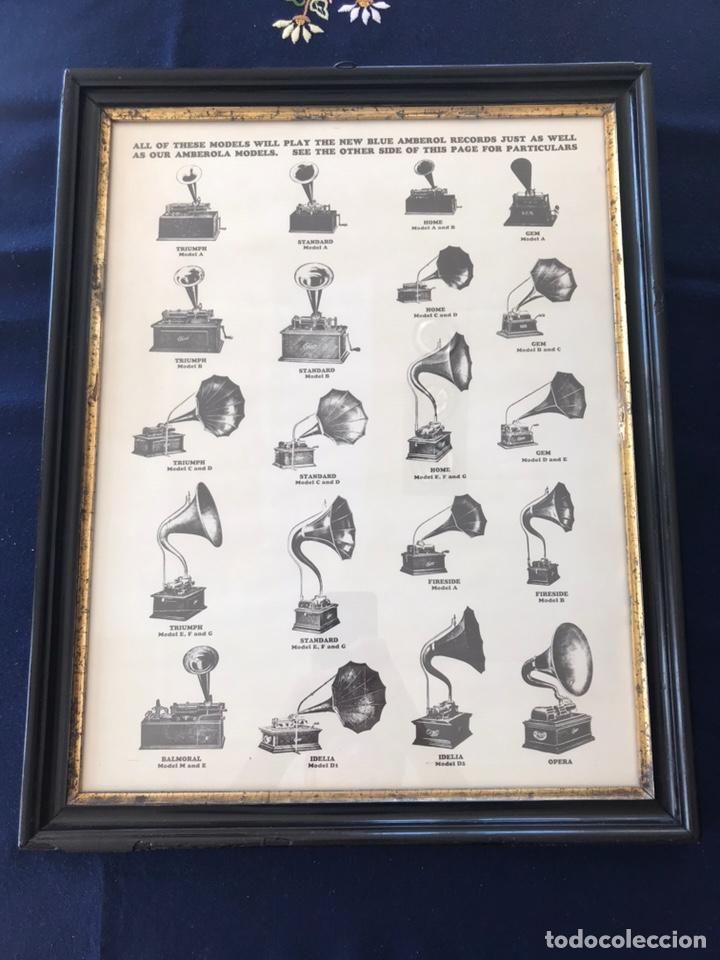 Fonógrafos y grabadoras de válvulas: Marco con lámina ( modelos de fonógrafo Edison ) - Foto 3 - 154493168