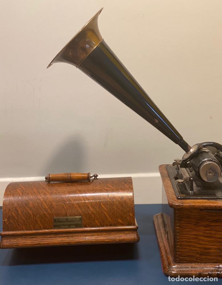 Fonógrafos y grabadoras de válvulas: Fonografo Edison primeros '900 + accesorios - Foto 7 - 204366555