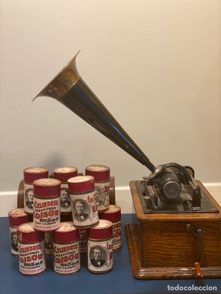 Fonógrafos y grabadoras de válvulas: Fonografo Edison primeros '900 + accesorios - Foto 8 - 204366555