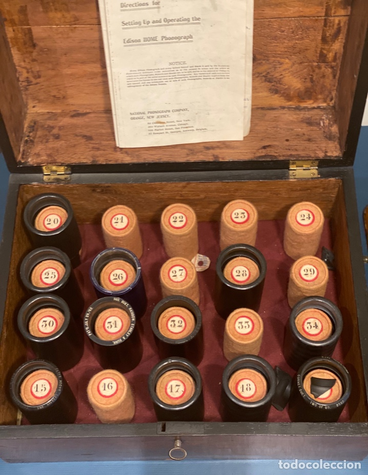 Fonógrafos y grabadoras de válvulas: Fonografo Edison primeros '900 + accesorios - Foto 16 - 204366555