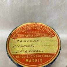 Fonógrafos y grabadoras de válvulas: CILINDRO DE CERA DE LA SOCIEDAD FONOGRÁFICA ESPAÑOLA HUGENS Y ACOSTA SANFORD GIGANTES JOTA FINAL. Lote 218930358