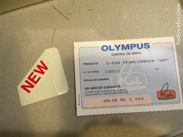 Fonógrafos y grabadoras de válvulas: Grabadora Olympus en caja original sólo se utilizo para probarla. año 1998 microfono, funda, pinza - Foto 2 - 227979810