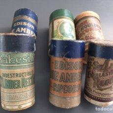 Fonógrafos y grabadoras de válvulas: LOTE DE 6 ENVASES DE CILINDROS. Lote 229841555
