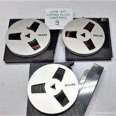 Fonografi e magnetofoni a valvole: LOTE Nº 417 - COMPUESTO POR 3 CINTAS 15 CMS PLASTICO COLOR ALUMINIO MARCA PHILIPS. Lote 261965750