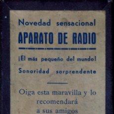 Radios de galena: APARATO DE RADIO (EL MÁS PEQUEÑO DEL MUNDO). ESPAÑA. CIRCA 1920. Lote 49338144