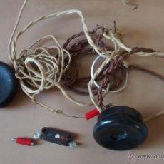 Radios de galena: COMPLEMENTO DE RADIO DE GALENA, DOS AURICULARES BAQUELITA CABLE ORIGINAL, COMO SE VE EN LA FOTO, . Lote 55035036