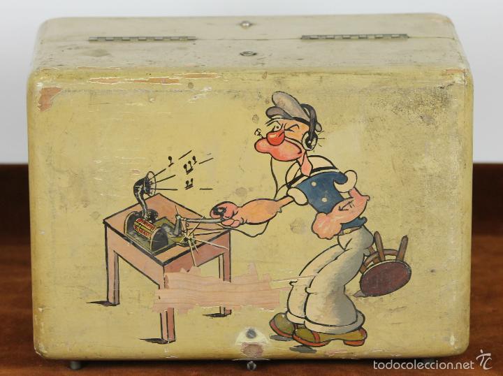 RADIO DE GALENA. CAJA EN MADERA POLICROMADA. POPEYE EL MARINO. CIRCA 1940. (Radios, Gramófonos, Grabadoras y Otros - Radios de Galena)