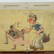 Radios de galena: RADIO DE GALENA. CAJA EN MADERA POLICROMADA. POPEYE EL MARINO. CIRCA 1940. . Lote 56607782