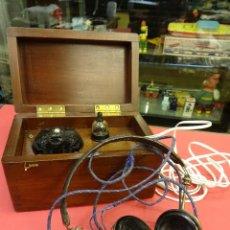 Radios de galena: PRECIOSA RADIO DE GALENA EN CAJA DE MADERA Y CON AURICULARES. MAGNÍFICA CONSERVACIÓN. Lote 99710943