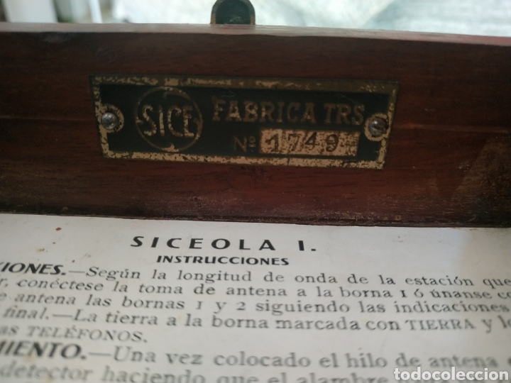 Radios de galena: Radio Galena Siceola I N serie 1749 - Foto 8 - 254051180