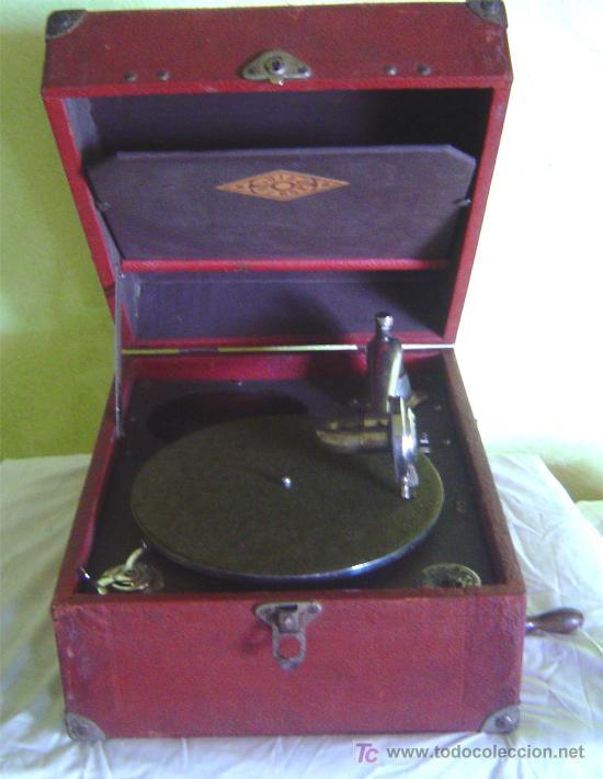 ANTIGUA MALETA GRAMOFONO GRAMOLA DE COLECCION , MARCA LUIBA VIROR (Radios, Gramófonos, Grabadoras y Otros - Gramófonos y Gramolas)