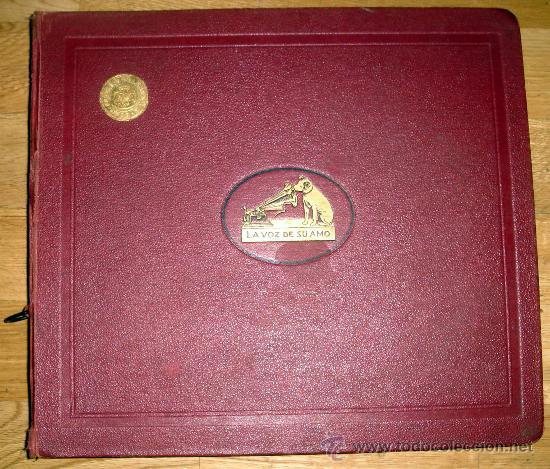 ANTIGUO ALBUM DE DISCOS DE GRAMÓFONO,CON EL SELLO DE EUTASIO VILLANUEVA(BURGOS) (Radios, Gramófonos, Grabadoras y Otros - Gramófonos y Gramolas)