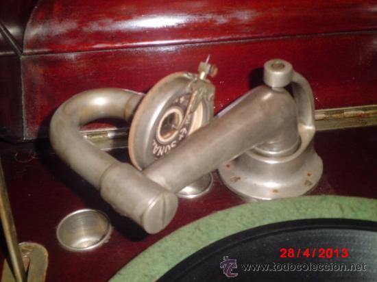Gramófonos y gramolas: GRAMOFONO DE MUEGLE DE SOBREMESA EN MADERA DE ROBLE, FUNCIONANDO - Foto 3 - 36964432