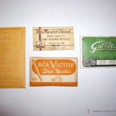 Gramófonos y gramolas: CUATRO PAQUETES DE AGUJAS PARA GRAMOFONO. H.M.V. RCA VICTOR ETC.. Lote 45731065