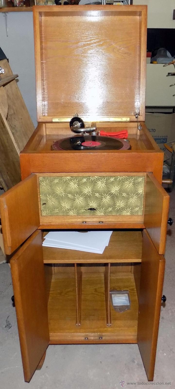 Gramófonos y gramolas: gramofono de mueble, funcionando, buen estado - Foto 9 - 52934478