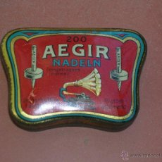 Gramófonos y gramolas: AEGIR NADELN.AGUJAS PARA GRAMÓFONO.CAJA METÁLICA LITOGRAFIADA.. Lote 53758968