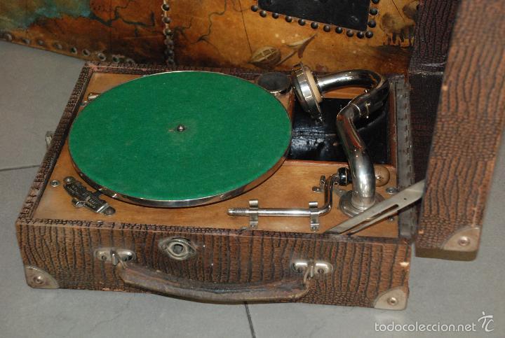 Gramófonos y gramolas: ANTIGUO GRAMÓFONO DE MALETA - Foto 5 - 56890080