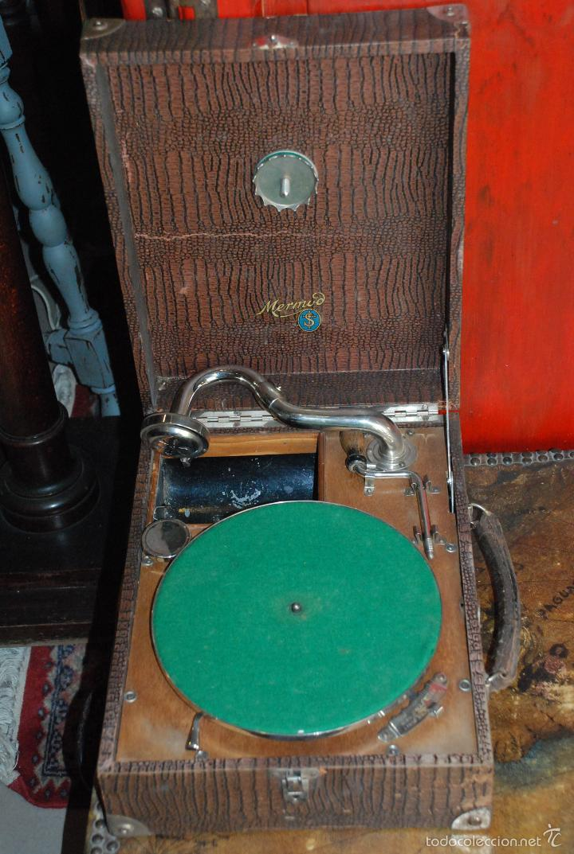 Gramófonos y gramolas: ANTIGUO GRAMÓFONO DE MALETA - Foto 6 - 56890080