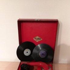 Gramófonos y gramolas: GRAMOFONO INFANTIL ORPHEE A CUERDA, EXCELENTE CON DOS DISCOS DE 16 CM. Lote 73453211