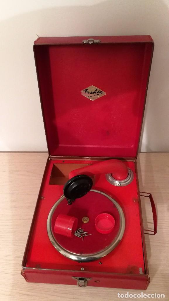 Gramófonos y gramolas: GRAMOFONO INFANTIL ORPHEE A CUERDA, EXCELENTE CON DOS DISCOS DE 16 CM - Foto 2 - 73453211