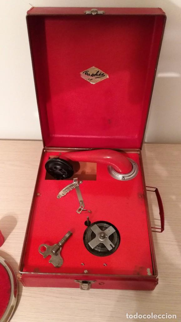 Gramófonos y gramolas: GRAMOFONO INFANTIL ORPHEE A CUERDA, EXCELENTE CON DOS DISCOS DE 16 CM - Foto 3 - 73453211