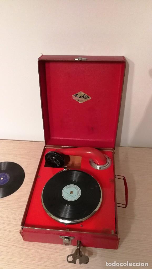Gramófonos y gramolas: GRAMOFONO INFANTIL ORPHEE A CUERDA, EXCELENTE CON DOS DISCOS DE 16 CM - Foto 5 - 73453211