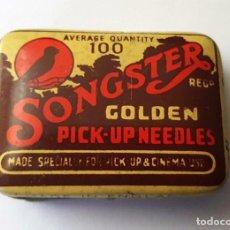 Gramófonos y gramolas: ANTIGUA CAJITA METALICA AGUJAS GRAMOFONO O GRAMOLA ''SONGSTER'' GOLDEN MADE IN ENGLAND. Lote 95813407