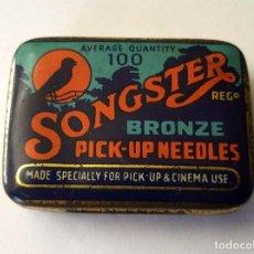 Gramófonos y gramolas: ANTIGUA CAJITA METALICA AGUJAS GRAMOFONO O GRAMOLA ''SONGSTER'' BRONZE MADE IN ENGLAND. Lote 95813475