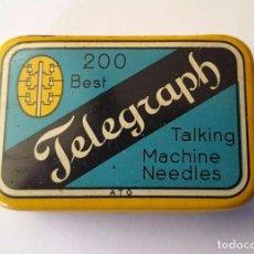 Gramófonos y gramolas: ANTIGUA CAJITA HOJA LATA AGUJAS GRAMOFONO O GRAMOLA ''TELEGRAPH'' TALKING MACHINE NEEDLES. Lote 95813651