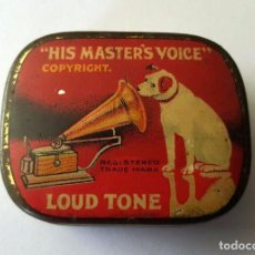 Gramófonos y gramolas: ANTIGUA CAJA METALICA AGUJAS GRAMOFONO O GRAMOLA ''HIS MASTER'S VOICE'' LOUD TONE . Lote 95813903