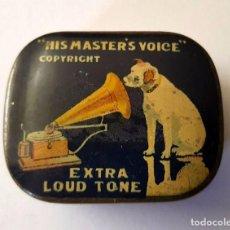 Gramófonos y gramolas: ANTIGUA CAJA METALICA AGUJAS GRAMOFONO O GRAMOLA ''HIS MASTER'S VOIC'' EXTRA LOUD TONE. Lote 95813931