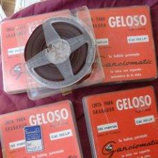 Gramófonos y gramolas: LOTE DE 5 CINTAS DE AUDIO GELOSO DE 120 METROS BOBINA 84 MM. Lote 116674711