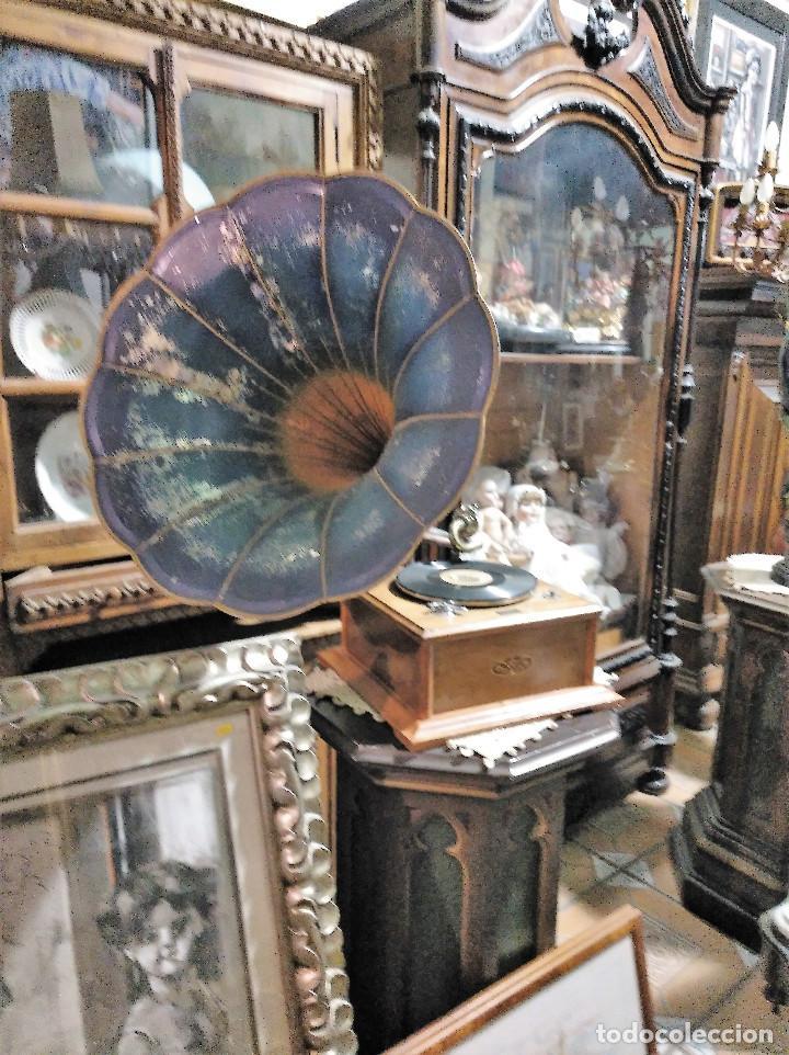 Gramófonos y gramolas: IMPRESIONANTE GRAMOLA DE SALON TROMPA AZUL PERFECTO FUNCIONAMIENTO - Foto 3 - 136213554