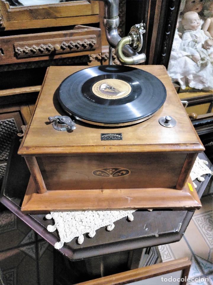 Gramófonos y gramolas: IMPRESIONANTE GRAMOLA DE SALON TROMPA AZUL PERFECTO FUNCIONAMIENTO - Foto 5 - 136213554