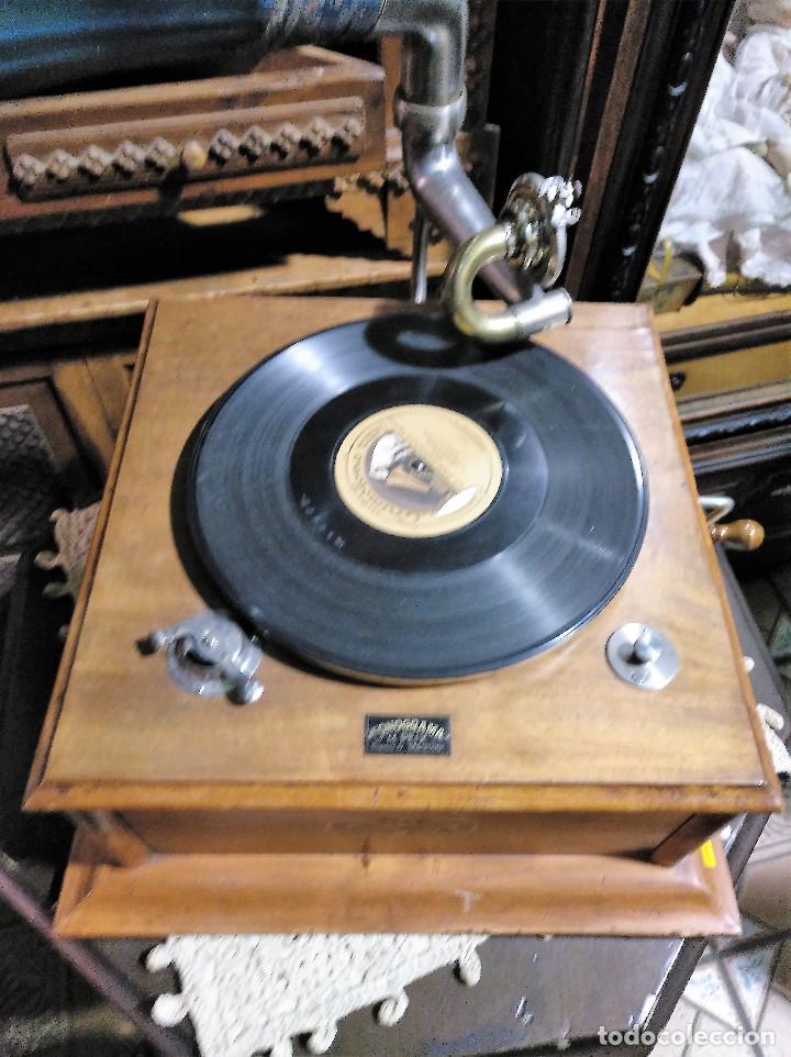 Gramófonos y gramolas: IMPRESIONANTE GRAMOLA DE SALON TROMPA AZUL PERFECTO FUNCIONAMIENTO - Foto 6 - 136213554