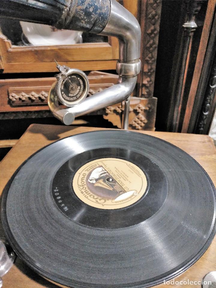 Gramófonos y gramolas: IMPRESIONANTE GRAMOLA DE SALON TROMPA AZUL PERFECTO FUNCIONAMIENTO - Foto 7 - 136213554
