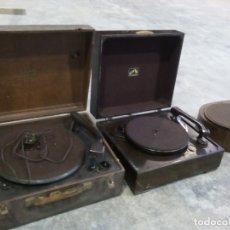 Gramófonos y gramolas: LOTE DE 4 ANTIGUOS GRAMOFONOS ELECTRICOS ,HIS MASTER VOICE,ERA USA Y COLLARO. Lote 155159022