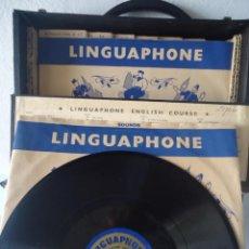 Gramófonos y gramolas: CURSO DE INGLÉS PARA GRAMÓFONO ANTIGUO, DISCOS DE PIZARRA. Lote 160556474