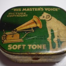 Gramófonos y gramolas: ANTIGUA CAJA HIS MASTERS VOICE - SOFT TONE. AGUJAS GRAMOFONO. INGLESA VINTAGE.. Lote 181082411