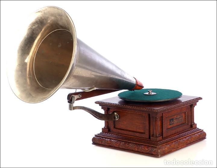 Gramófonos y gramolas: Antiguo Gramófono Monarch Europeo La Voz de su Amo. Francia, 1903 - Foto 2 - 185695856