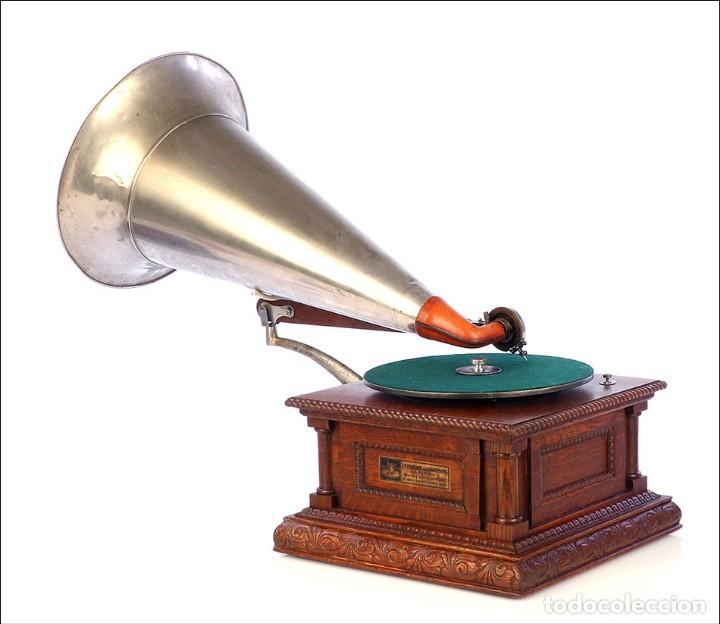 Gramófonos y gramolas: Antiguo Gramófono Monarch Europeo La Voz de su Amo. Francia, 1903 - Foto 3 - 185695856