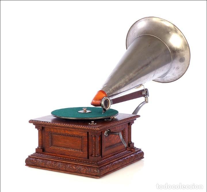 Gramófonos y gramolas: Antiguo Gramófono Monarch Europeo La Voz de su Amo. Francia, 1903 - Foto 4 - 185695856