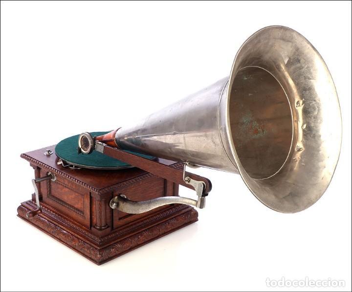 Gramófonos y gramolas: Antiguo Gramófono Monarch Europeo La Voz de su Amo. Francia, 1903 - Foto 5 - 185695856