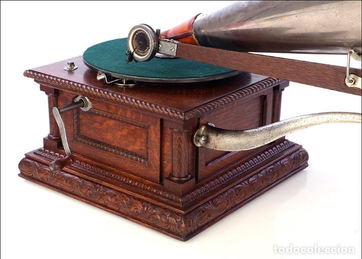 Gramófonos y gramolas: Antiguo Gramófono Monarch Europeo La Voz de su Amo. Francia, 1903 - Foto 7 - 185695856