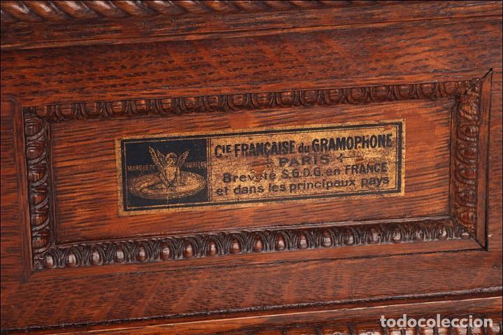 Gramófonos y gramolas: Antiguo Gramófono Monarch Europeo La Voz de su Amo. Francia, 1903 - Foto 11 - 185695856