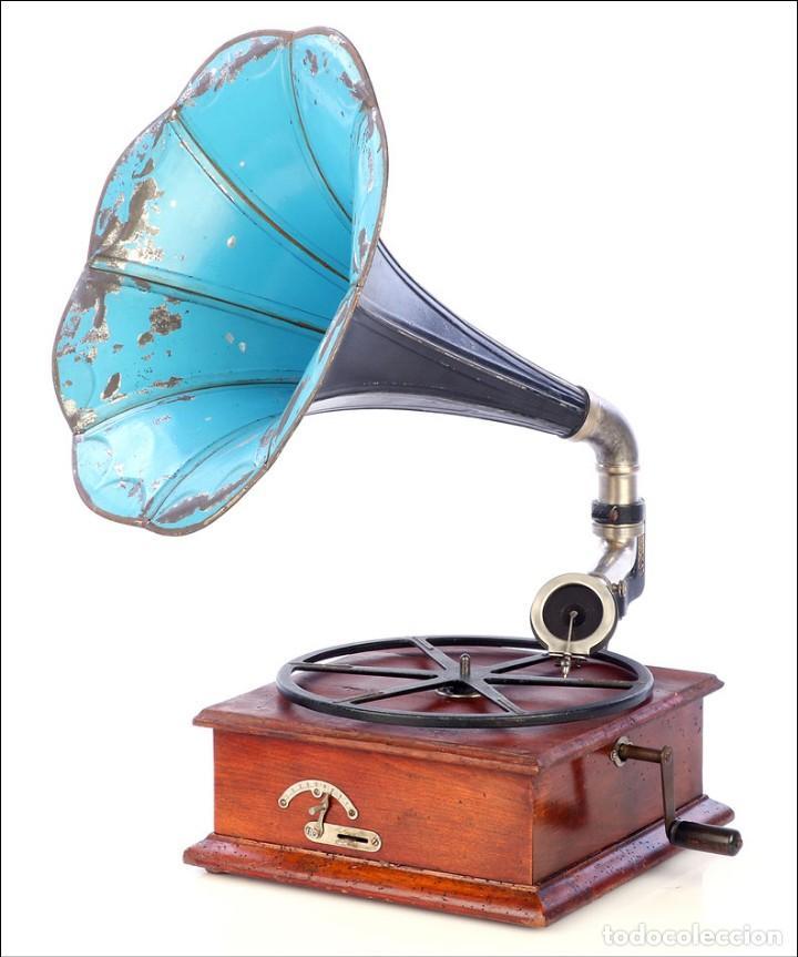Gramófonos y gramolas: Raro Gramófono de Trompeta Carette. Restaurado. Alemania, Circa 1915 - Foto 2 - 185697127