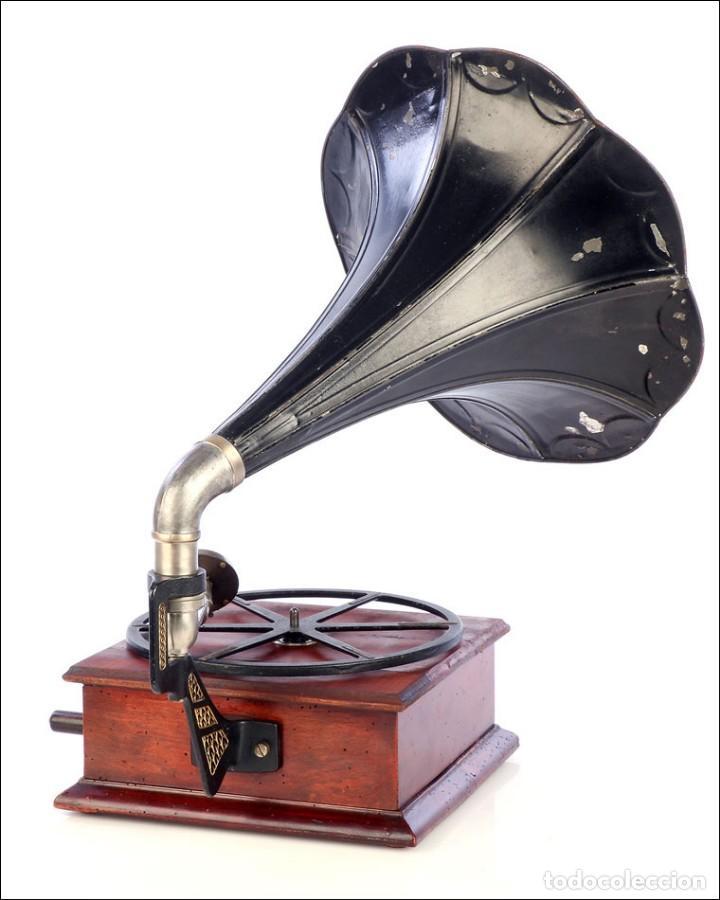 Gramófonos y gramolas: Raro Gramófono de Trompeta Carette. Restaurado. Alemania, Circa 1915 - Foto 4 - 185697127