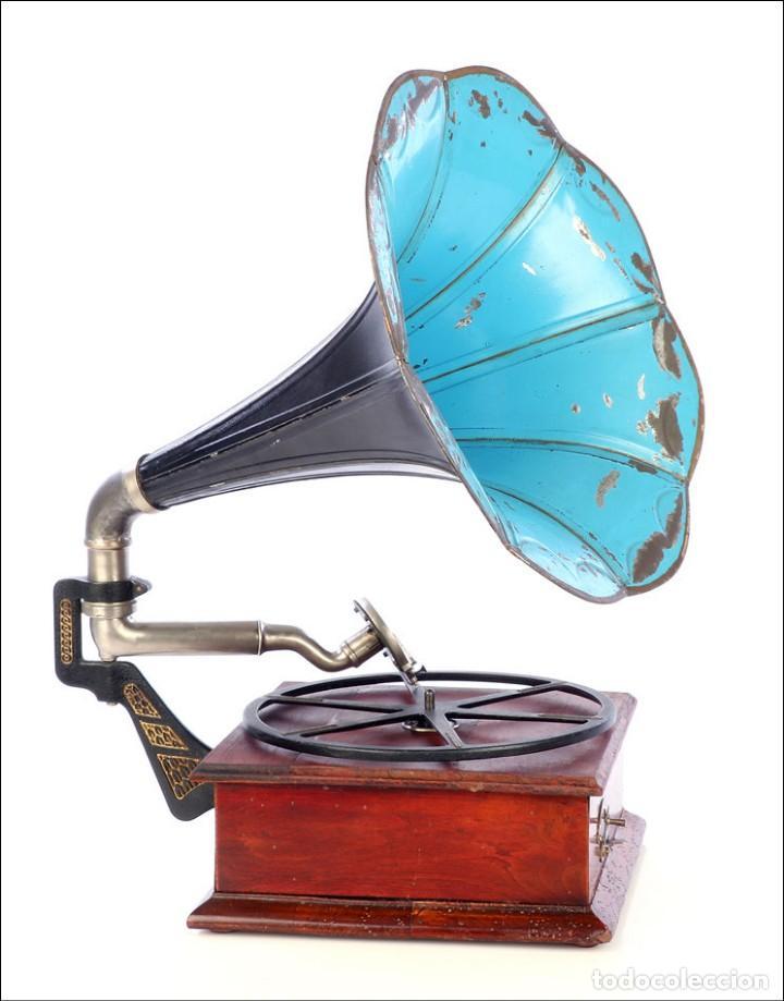 Gramófonos y gramolas: Raro Gramófono de Trompeta Carette. Restaurado. Alemania, Circa 1915 - Foto 5 - 185697127