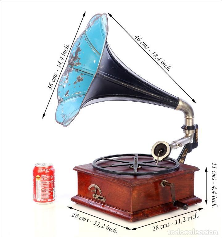 Gramófonos y gramolas: Raro Gramófono de Trompeta Carette. Restaurado. Alemania, Circa 1915 - Foto 6 - 185697127
